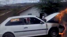 Araba Yangını ve Yanlış Söndürme Metodu Uygulaması.