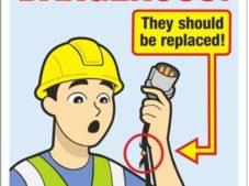Kablosu ve kendisi arızalı elektrikli ekipmanları kullanma. Sahada bulundurma. Hemen tamire gönder. Don't use defective the electrical equipment. That Possession in the field.  Send for repair immediately.